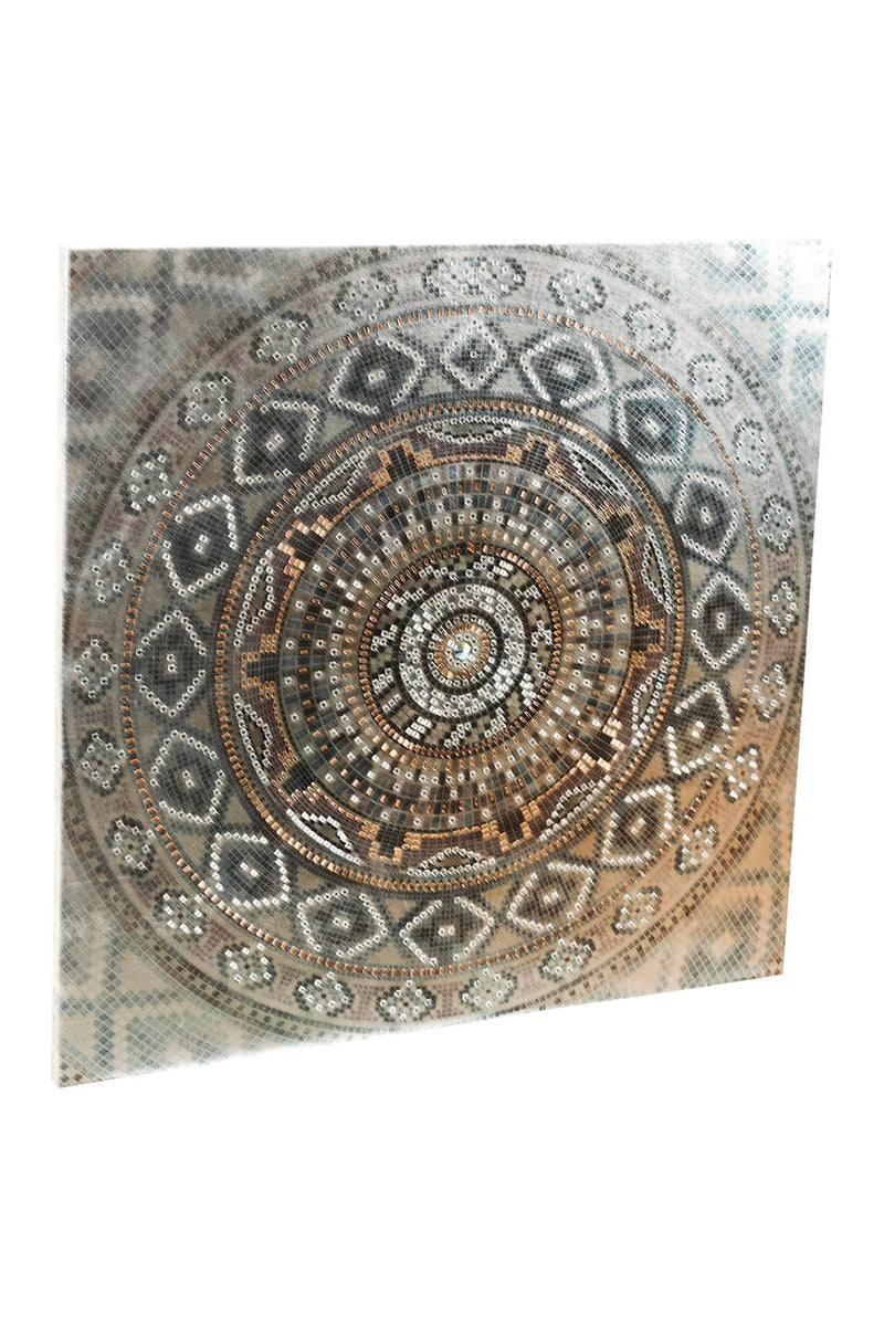 Silver Mandala with Jewels Print Canvas