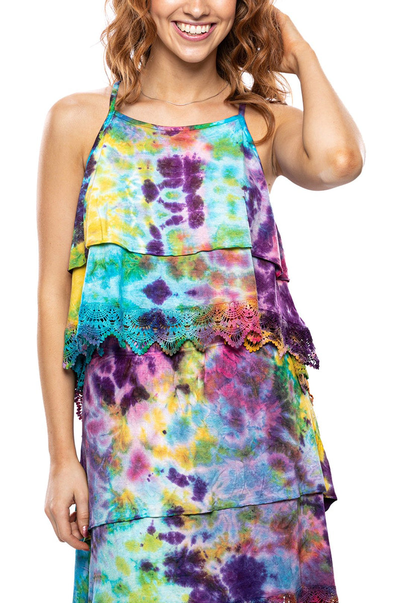 Tiered Lace Tie Dye Tank Top