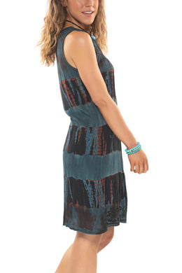 Sleeveless Embroidered Stripe Dress