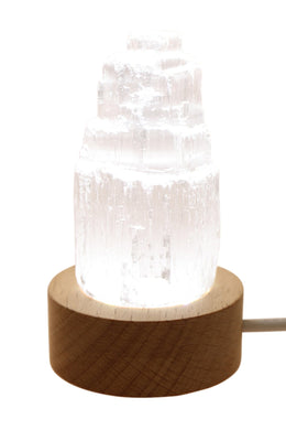 LED Selenite Table Lamp