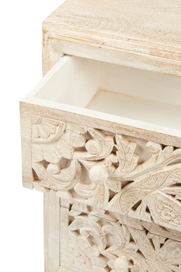 White Wash Carved Three Drawer Mandala Chest