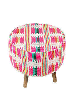 Pink Geometric Pattern Stool