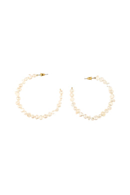 Irregular Pearl Hoop Earrings