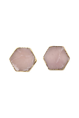 Hexagon Gem Stud Earrings