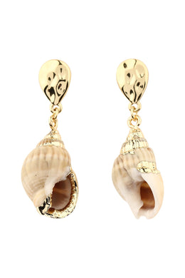 Pebbled Teardrop Shell Earrings