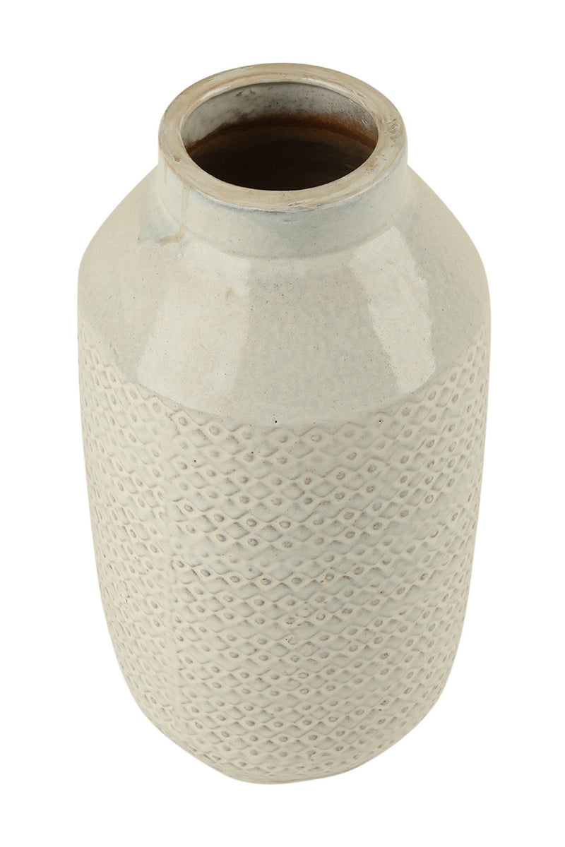 Handthrown Ceramic Vase with Hand Stamp