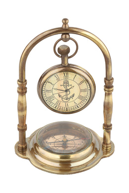 Clock on Stand with Compass