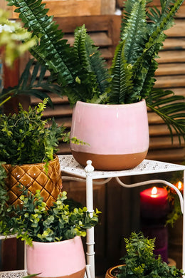 Medium Terracotta & Pink Ceramic Pot