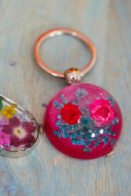 Flower Power Dome Keyring