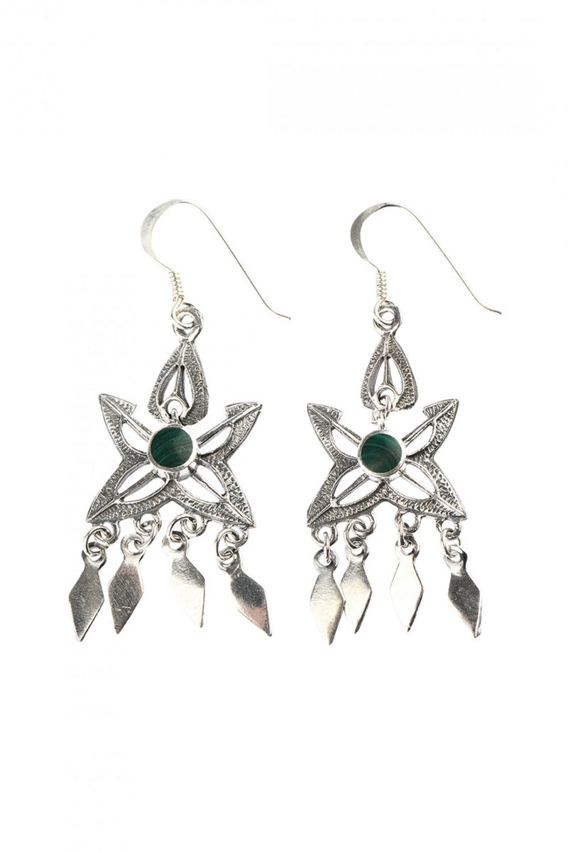 Pointed Shield Swing Earrings