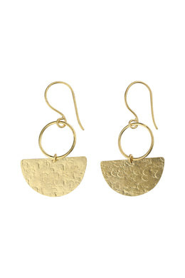 Gold Plated Half Disc Pebbled Silver Earrings