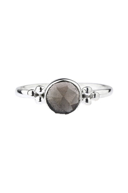 Dainty Smokey Topaz Dotted Silver Ring