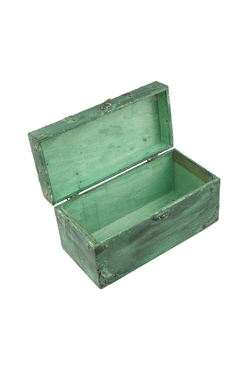 Small Distressed Paint Teal Wooden Box