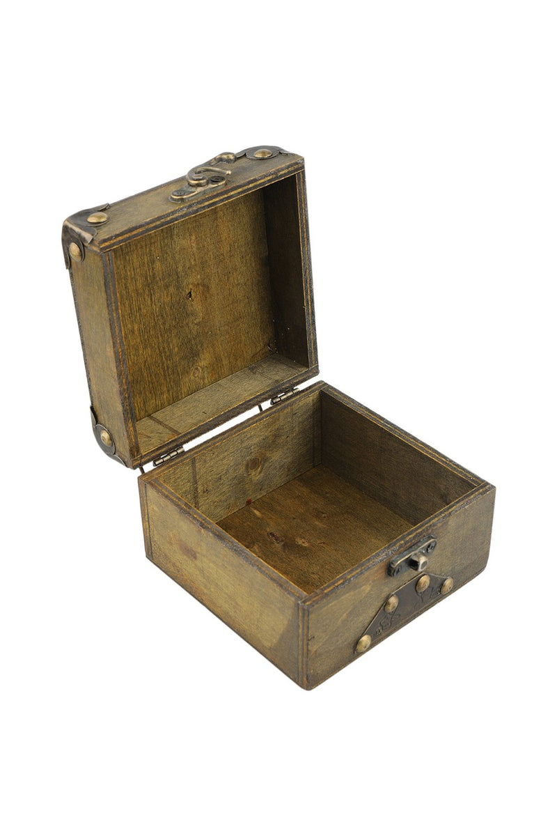 Small Iron Fitted Wooden Box