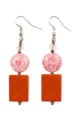 Earring Natural Stone - Pink & Coral