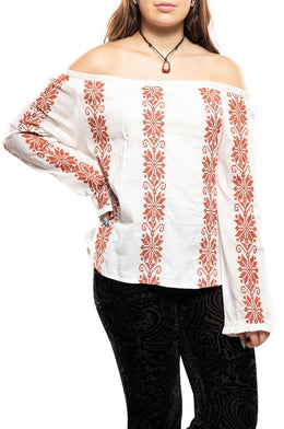 Embroidered Off-Shoulder Peasant Top