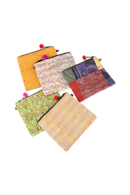 Assorted Kantha Flat Pouch Bag
