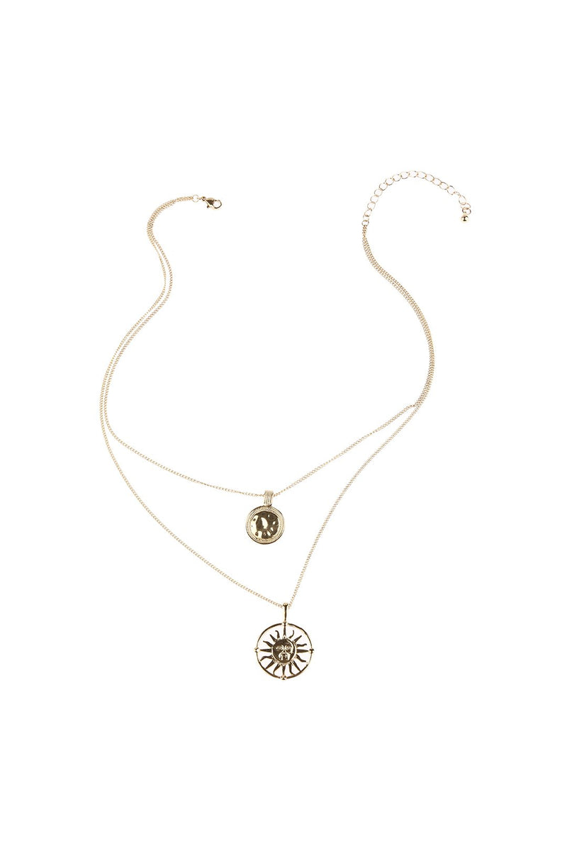 Layered Sunrays Disc Necklace