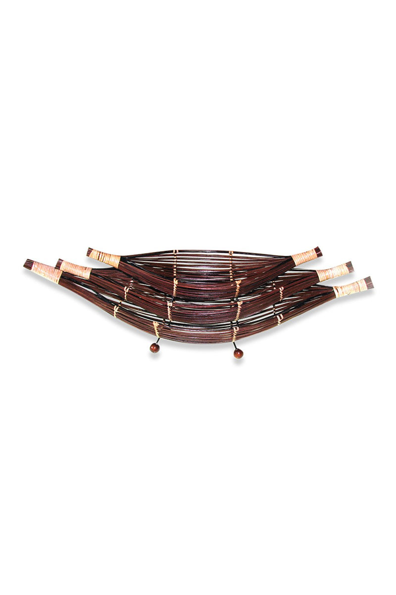 Large Chocolate Rattan Boat Bowl