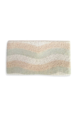 Cream Beaded Wave Purse