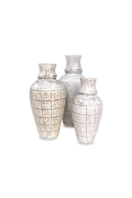 White Wash Etched Vase Set of Three