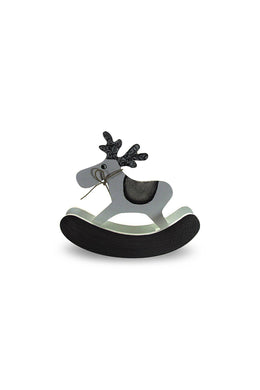 Grey Reindeer Rocking Horse Decoration