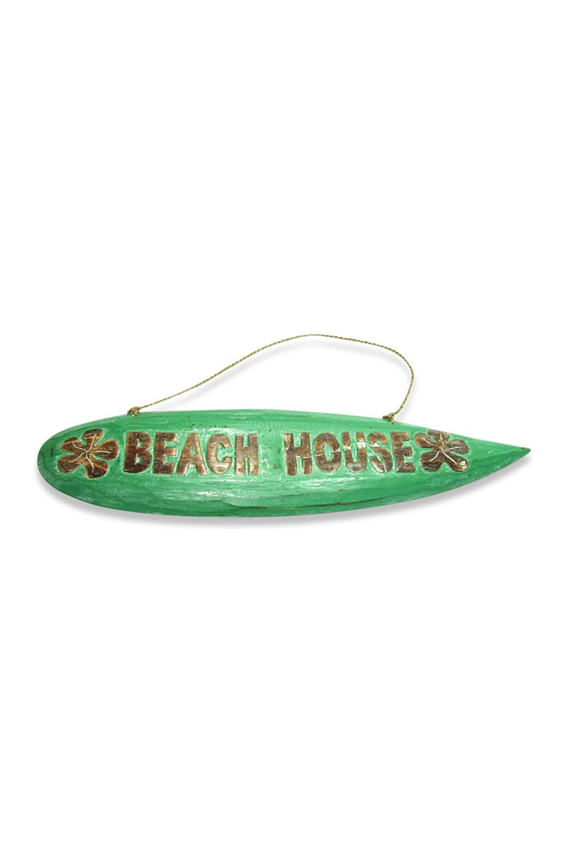 Green Surfboard Beach House Sign