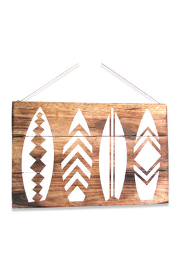 White Stencil Surfboards Wall Plaque