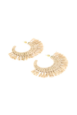Fringed Raffia Weave Earrings