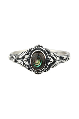 Ornate Leaf Abalone Silver Ring