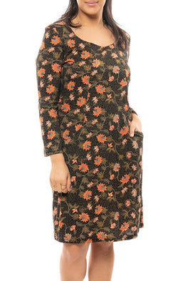 Batik Jersey Dress with Pockets