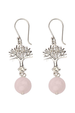 Tree of Life Rose Quartz Drop Silver Earrings