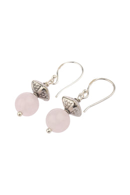 Rose Quartz Bead Drop Silver Earrings