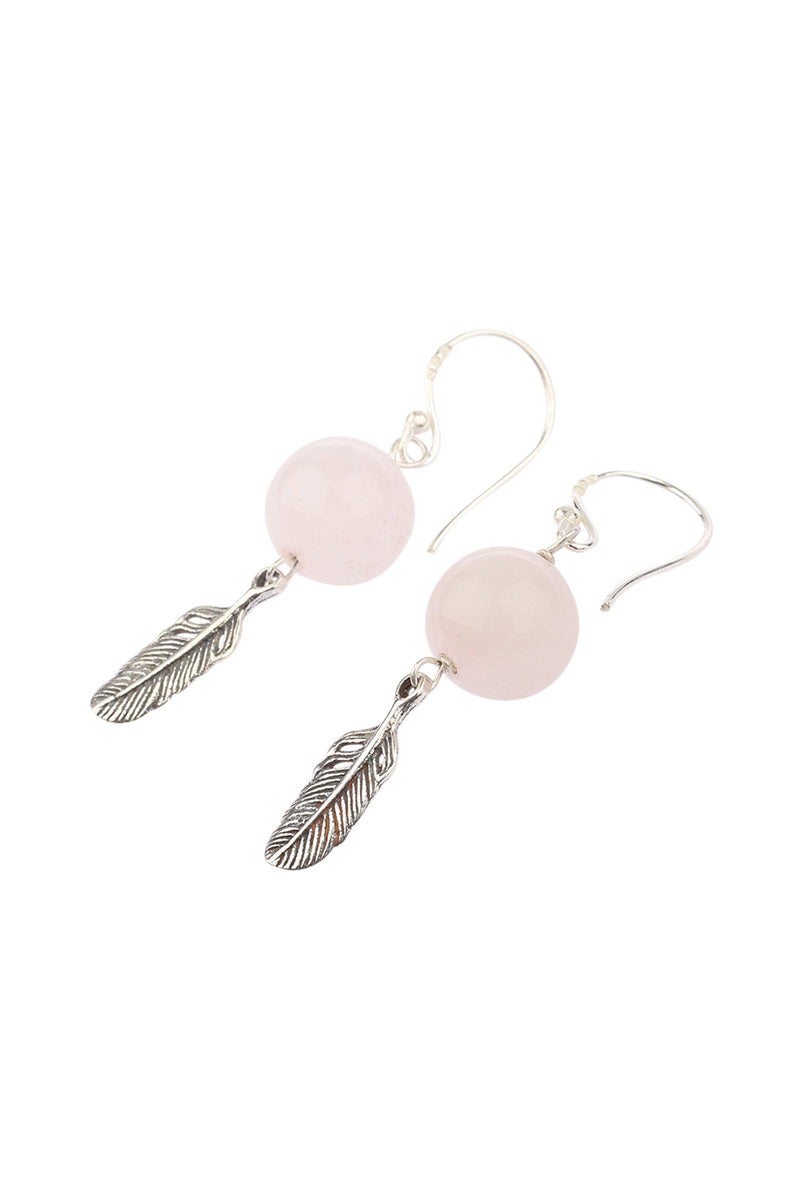 Rose Quartz Bead Feather Silver Earrings