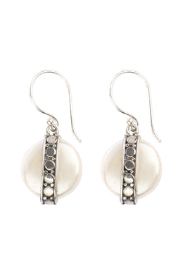 Shell Disc Silver Earrings