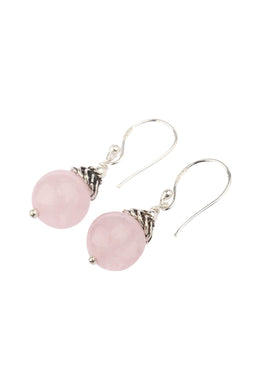Rose Quartz Silver Cap Earrings