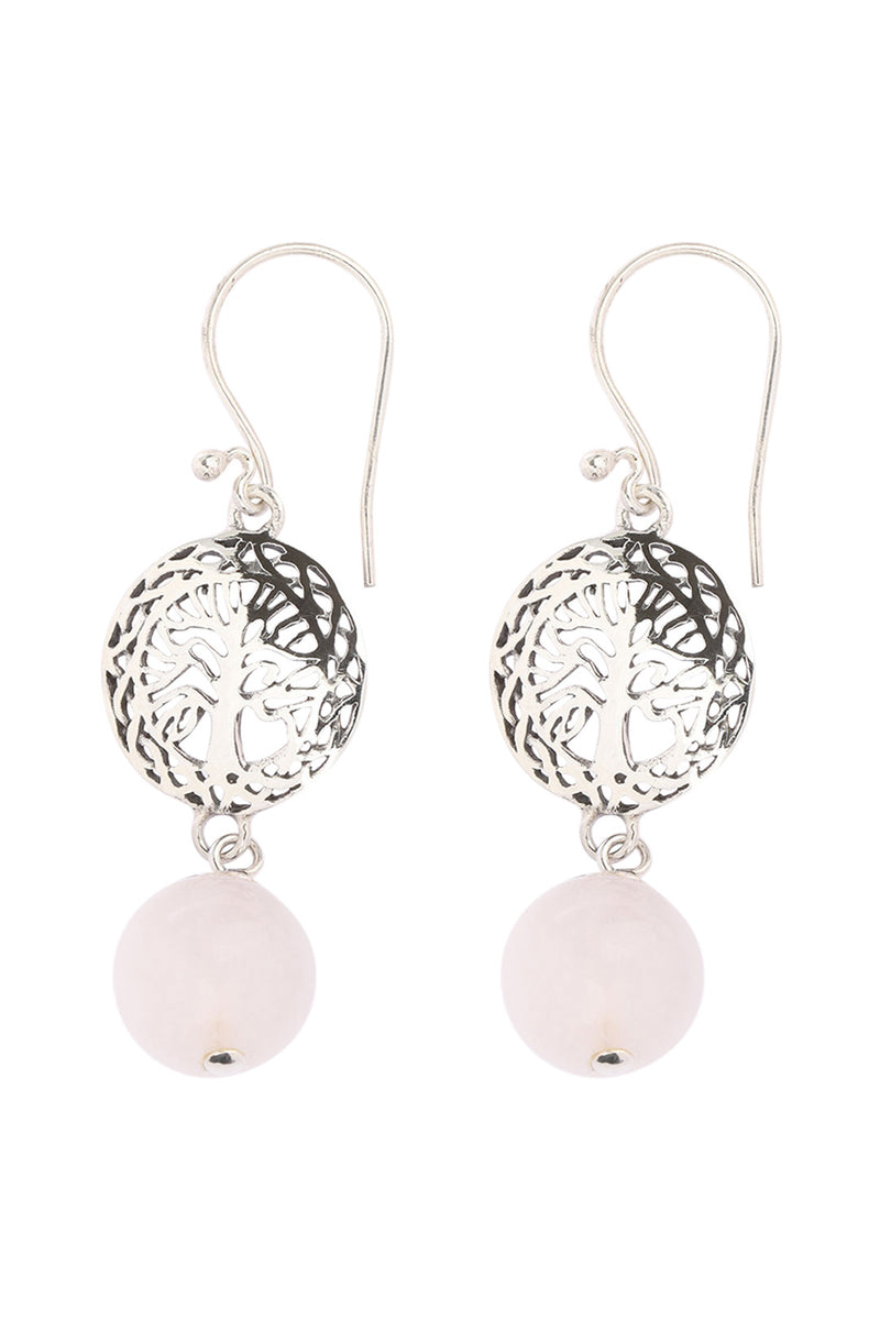 Tree of Life Disc Rose Quartz Silver Earrings