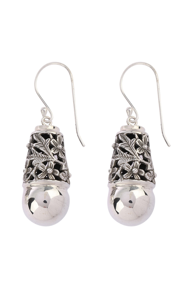 Floral Cap & Bead Silver Earrings