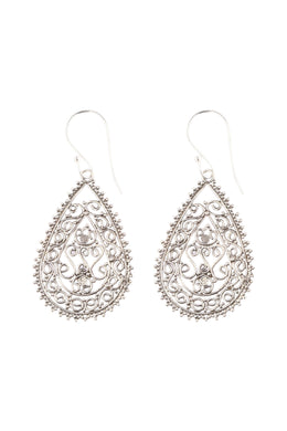 Filigree Teardrop Silver Earrings