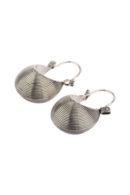 Basket Hoop Silver Earrings
