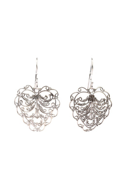 Filigree Leaf Swirl Silver Earrings