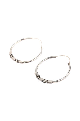 Balinese Hoop Silver Earrings