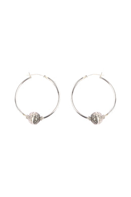 Balinese Bead Hoop Silver Earrings