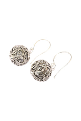 Ornate Balinese Bead Silver Earrings