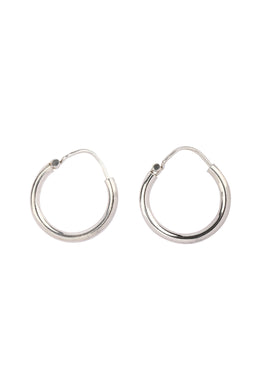 Simple Hoop Silver Earrings