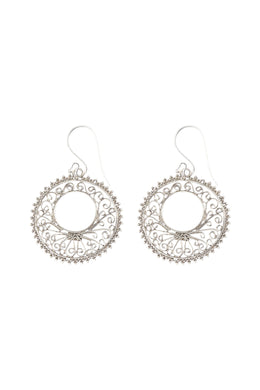 Filigree Open Disc Silver Earrings