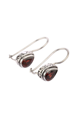 Garnet Teardrop Silver Hook Earrings