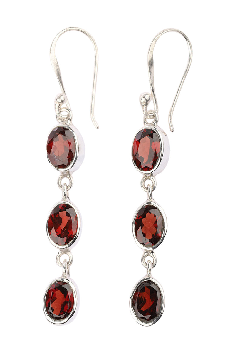 Three Linked Garnet Ovals Silver Earrings