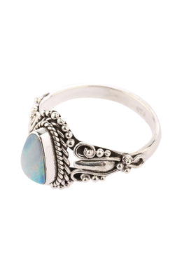 Tribal Details Opal Silver Ring