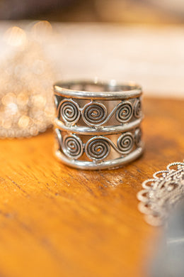 Swirl Layers Silver Stack Ring